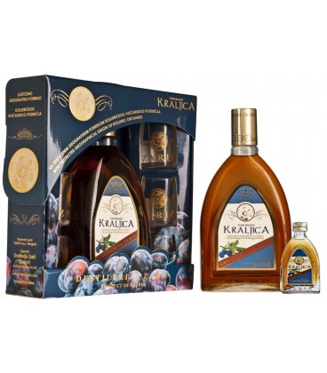 Kraljica Plum brandy Lux with glasses 700 ml