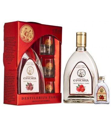 Opsesija Raspberry brandy Lux with glasses 700 ml