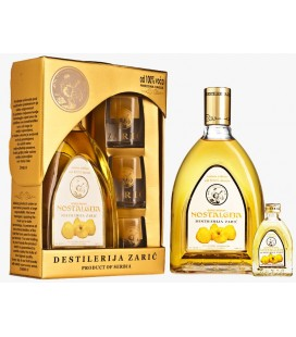 Distillery Zaric Quince brandy Lux with glasses 700 ml