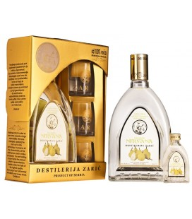 Distillery Zaric Nirvana Pear brandy Lux with glasses 700 ml