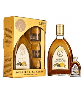 Distillery Zaric Medenka Honey brandy Lux with glasses 700 ml